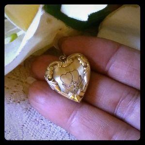 Vintage Repousse & Etched Heart Locket Pendant